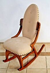 Vintage French Country Rocking Chair Fabric Petite Size By Pelham Shell Leckie