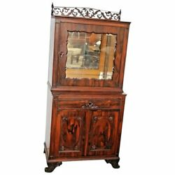 Stunning Antique Chinese Rosewood Altar China Cabinet Mirrored Locking Top