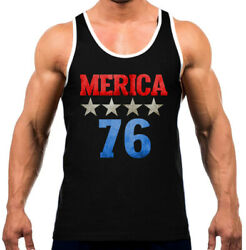 Menand039s Merica 76 Kt T36 Black Tank Top Wt July 4th American Party Beer Patriotic