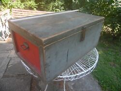Antique Carpenter Trunk Flat Top Wood Tool Chest Box Milk Paint Green And Red
