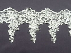 1 METRE BEAUTIFUL IVORY APPLIQUE  LACE MOTIF  BRIDAL TRIM - Ref AP90