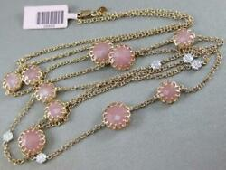 Pink Agate Diamond By The Yard 14k Rose Gold Flower Station Necklace Italy Mtn05