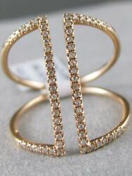 Modern .15ctw Diamond 14kt Rose Gold Wide Open Parallel Band Ring 19mm R31750r