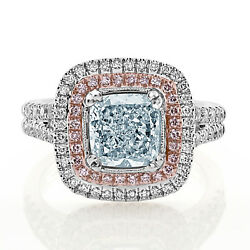 Real GIA 2.75ct Natural Fancy Light Blue & Pink Diamonds Engagement Ring 18K