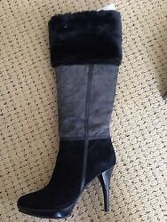 B. Makowsky Kate Suede Boots with Faux Fur Preow w Box Size 8M Black Color $44.99