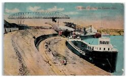 Early 1900s The Steel Plant Docks, Great Lakes Steamers, Lorain, Oh Postcard