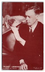 Charles Plucky Lindbergh With His Mascot Arcade Exhibit Card