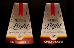 2 Vintage Michelob Light Beer On Draught Anheuser Busch Standing Lighted Signs