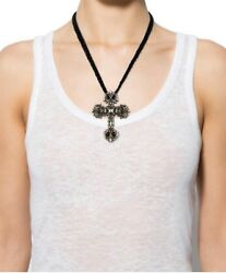 Chrome Hearts Large Cross With Braided Leather Necklace