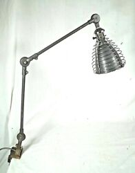 Antique Industrial O.c.white Clamp On Work Station Desk Cone Shaped Light