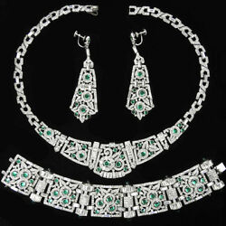 KTF Trifari Pave Emerald Cabochons Flower Circles Necklace Bracelet Earrings Set