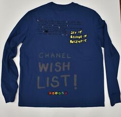 Chanel X Pharrell Capsule Collection Blue Long Sleeve Graffiti Tee Shirt RARE M