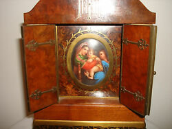 Germany Hand Made Wood Brass Travel Home Altar Tabernacle Porcelain Painting