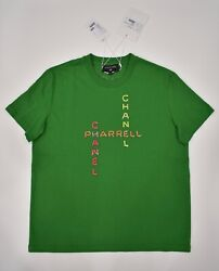 Chanel X Pharrell Capsule Collection Green Short Sleeve Crystal Tee Shirt RARE S