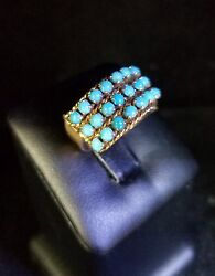 Vintage Victorian 18 Kt Yellow Gold Persian Turquoise Cluster Dome Flower Ring