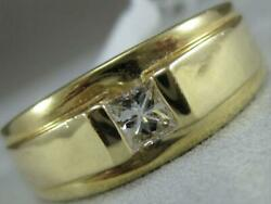 Estate .38ct Square Diamond 14k Yellow Gold Mens Solitaire Ring 9mm 10.50 26g40b