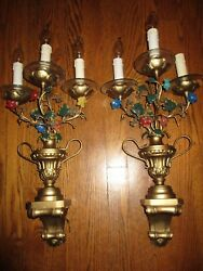 Antique Pair Of Toleware Electric Sconces, Flowers, Leaves, Urns