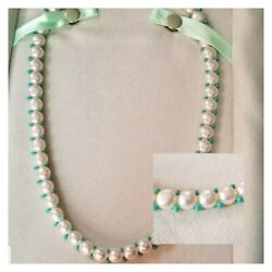 Ross Simons Sterling Silver Button Pearl And Turquoise Beaded Necklace