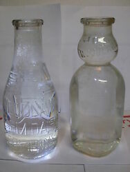 Group Of 2 Quart Woodlawn Farm Dairy Company Bottles Regular And Creamtop Bottle
