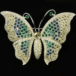 Jomaz Pave Sapphire and Emerald Butterfly Pin