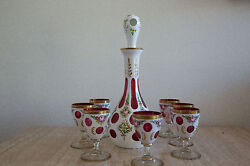 Vintage Bohemian Cut-to-cranberry Hp Overlay Decanter W Glasses 33