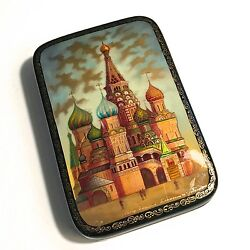 Russian Fedoskino Lacquer Box St. Basil Cathedral Red Square Moscow - Mint Cond