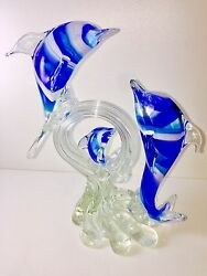 """Murano Art Glass Dolphins Frolicking On A Wave Sculpture By Dante Veni 9.8"""" H"""