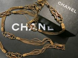 Authentic Vintage OLD CHANEL Gripoix Glass Long Chain Necklace