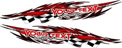 Custom Text Name Auto Car Truck Trailer Racing Flag Graphics Decals Stickers 48