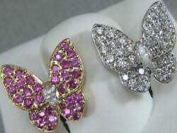 DESIGNER PAVE DIAMOND PINK SAPPHIRE 18KT ROSE GOLD DOUBLE BUTTERFLY RING N1364.1