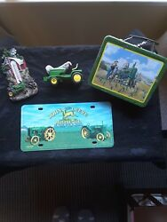 Mixed Lot John Deere Collectibles Licence Plate, Thermometer, Tractor, Old Tin