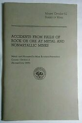 Accidents From Falls Of Rock Or Ore At Metal And Nonmetallic Mines 1955 Prevention