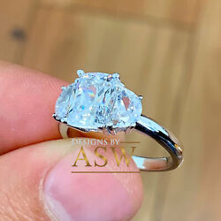 14k Solid White Gold Cushion Half Moon Cut Diamond Engagement Ring Propose 4.00