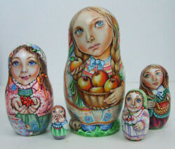 5pc Handpainted Only One Russian Nesting Doll Girls, Apples_berries, Chmelyova