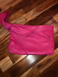 Gorgeous Authentic Valentino Garavani Pink Leather Clutch W/ Leather Loop Handle