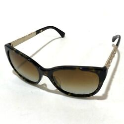 AUTHENTIC CHANEL Rhinestone Sunglasses Brown and Gold based 5299-B-A