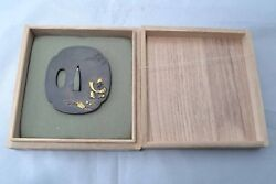 Tsuba Japanese Samurai sword Katana koshirae guard Jurojin deer design Antique