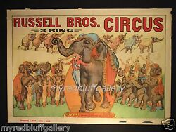 Russell Brothers 1940 Teddy Elephant Original Circus Poster