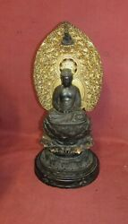 Large Antique Japanese Carved Wooden Buddha Sculpture Religious