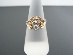 C504 Stunning Vintage Ring With Center Diamond And Seed Pearls In 10k Yg