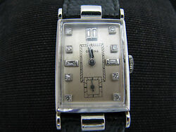 B054 Vintage 1940's Glycine Watch In Platinum With Diamond Markers