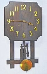 Antique Arts And Crafts Oak Wall Clock National Clock And Mfg Co Chicago. Works.