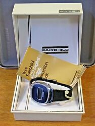 Fairchild 1970and039s Menand039s Lcd Digital Vintage Watch W/ Box And Papers Navy Blue Dial