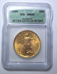 1924-p Icg Ms63 20 Gold St. Gaudens Double Eagle Us Coin Better Date