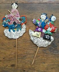 Early 20th Cent Chinese Folk Art Applicate Work Immortals/ Fairy Tales Figures