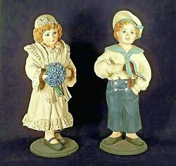 Vintage Pair Of Figural Store Displays Of Young Boy And Girl