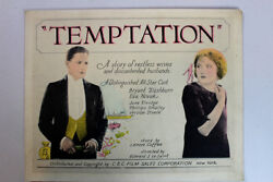 Temptation Columbia Pictures Corporation, 1923 Title Card And Lobby Cards X3
