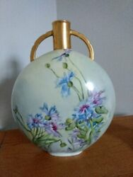 Antique Haviland Limoges, France Pillow/canteen Vase With Gold Gilt Handles And