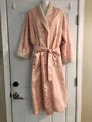 VICTORIAS SECRET Terry Lined Long Robe Pink Rose Design XSS
