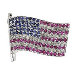 18k White Gold 0.50ctw Ruby, Sapphire, And Diamond United We Stand Flag Pendant